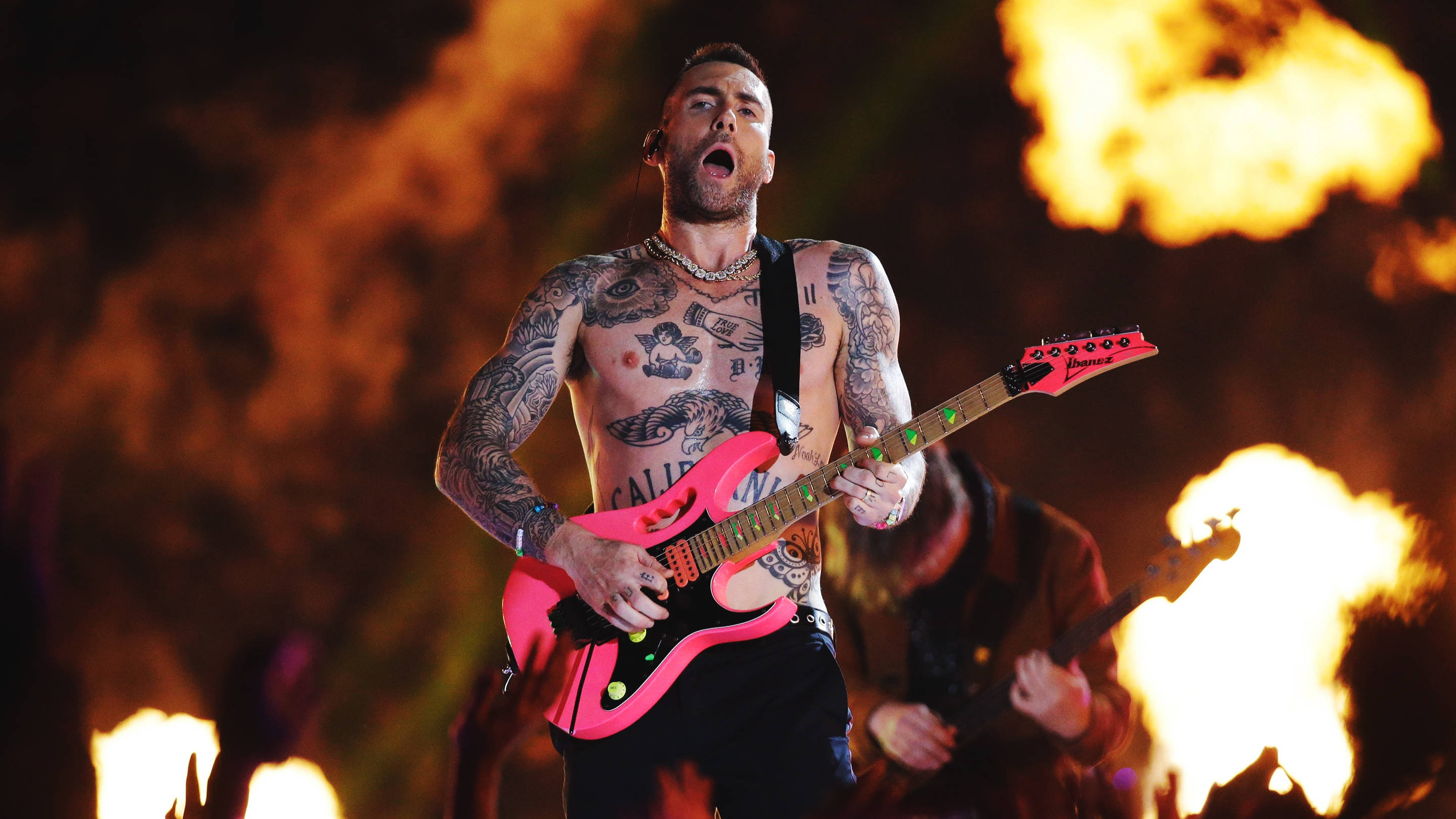 Maroon 5's Adam Levine at the Super Bowl halftime