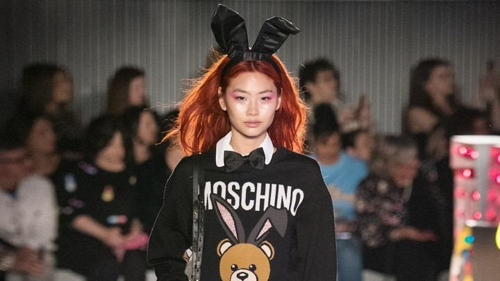 The Moschino Teddy Bear Puts on the Bunny Ears for 2018 Resort Collection