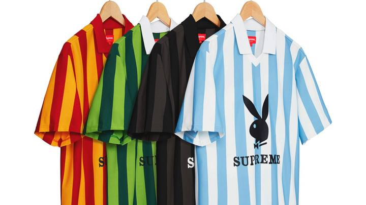 Experience Supreme x Playboy Summer 2018 Fashion Goals: Pinstripe Soccer Jerseys